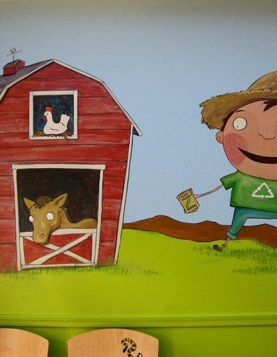 Farm Mural with Boy