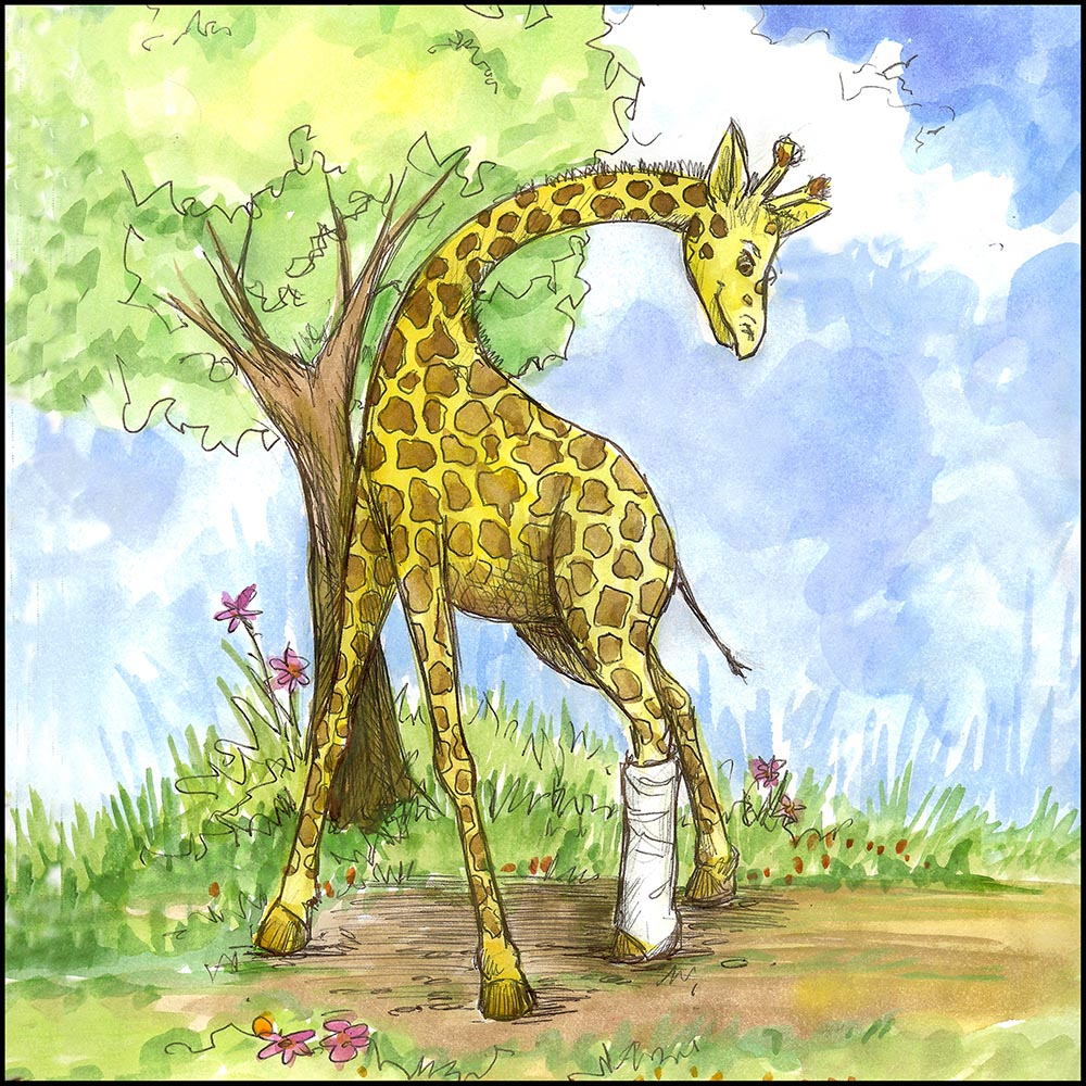 Giraffe with Cast