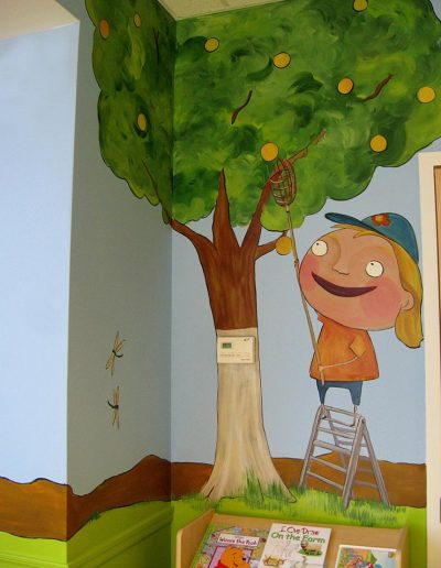 Girl Picking Fruit Mural